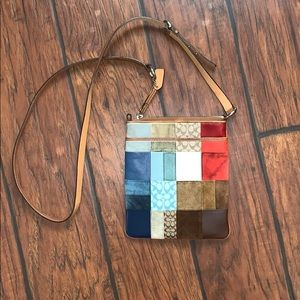 Small Coach Patchwork Crossbody Blue, Red, Brown